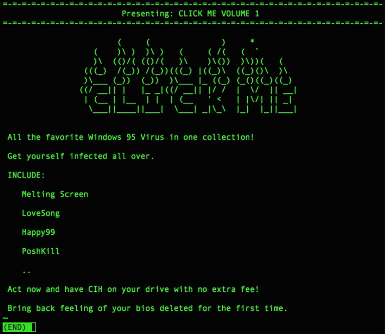 Screenshot of readme file for Click Me, a nostalgic computer virus collection